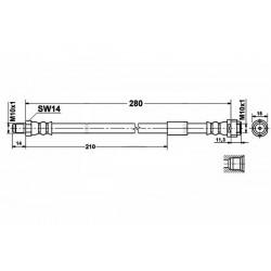 0581 elastyczny przewód hamulcowy OEM: 2104280035 W202 W203 C209 W210 S210  TYŁ