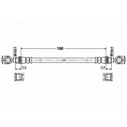 0224 elastyczny przewód hamulcowy OEM: 4806G2 Peugeot 207 tył