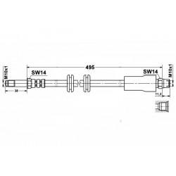 0579 elastyczny przewód hamulcowy OEM: 6384280835 Mercedes Vito 638 przód