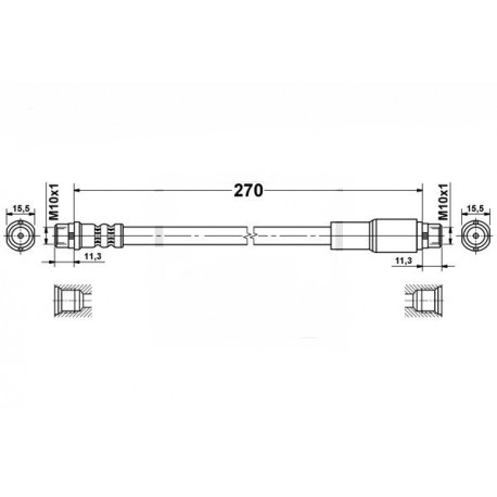 4744 elastyczny przewód hamulcowy OEM: 4A0611707